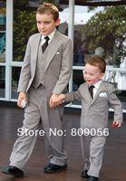 B92 hot light gray page boy suit Boy Wedding Suit Boys' Formal Occasion Attire Custom made suit tuxedo(jacket+pants+vest+tie)