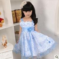 2014 hot selling summer girl dress cute girls clothing fashion chiffon flower girl dress for kids prom party wear children dress