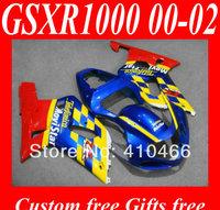 Hot Sale!!Fairing kits for SUZUKI GSXR1000 K2 00 01 02 GSXR1000 2000 2001 2002 Yellow red blue ABS Fairings set +7gifts SN48