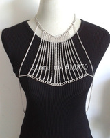 2014 New Women Chunky Tassel Choker Bib Chains Necklace Gold Silver Body Chain Harness Jewelry