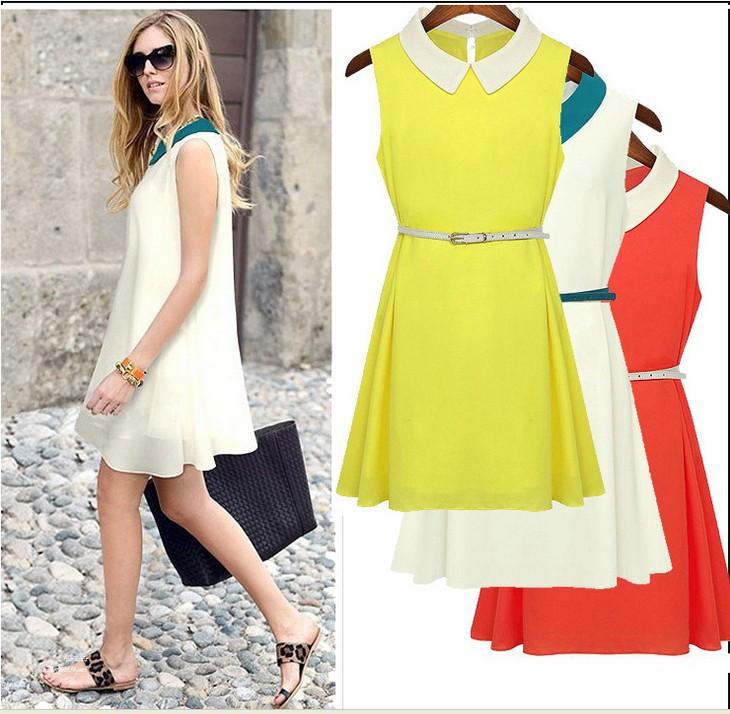 2014 Women Summer Dress Sleeveless Peter Pan Collar Chiffon Dress for Lady