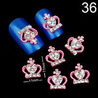 Free Shipping 2014 Hot Pink Crown Nail Art Decoration Alloy Rhinestone Nail Art DIY Decoration Glitters Slices