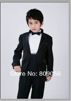 B734 excellent black waistcoat suit page boy suit Boy Wedding Suit Boys' Formal Occasion Attire Custom made suit tuxedo