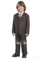 B46 classy chocolate page boy suit Boy Wedding Suit Boys' Formal Occasion Attire Custom made suit tuxedo(jacket+pants+vest+tie)