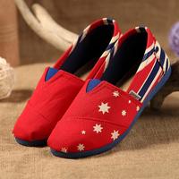Fashion color block decoration slip on cotton canvas shoes women flat heel boat shoes