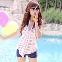 Free Shipping Hot spring swimwear female split powder belt pad push up dress dot print polyester bikini set