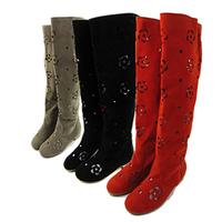 Fashion !! 2013 high-leg cutout boots summer boots goatswool scrub boots tall boots women's flat shoes