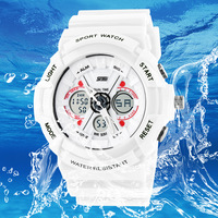 Brand Skmei Dual display male watch fashion electronic watch waterproof lovers watch jelly women's wristwatch