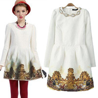 Free Shipping 2014 Europe Fashion Brands Women Dresses Manual Beading Sequins Embroidery Landscape Printing White Dress S M L
