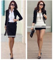 happy SZ New Fasion Women Rivet Jacket Small Suit OL Hot Drilling Female Short Coat  Women's fation Coat FWT001