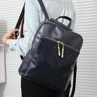 Multifunctional backpack female bags fashion oil skin double backpack student bag school bag black
