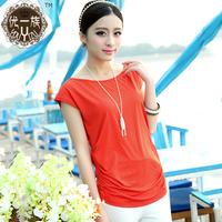 2014 summer plus size women candy color mm short-sleeve T-shirt women's slim top