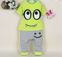 New Spring 2014 Children clothing set baby boy eyes suits cotton long-sleeved blue/yellow two set 2~5years old