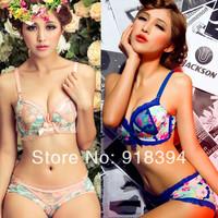 New Fashion 2014 Elegant Rural Style Brassiere Women Colorful Lace Push Up Halter Bra Set Underwear Set Free Shipping