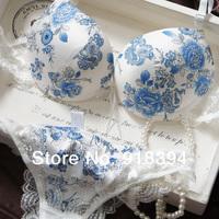High quality very beautiful luxury gentlewoman deep v-neck Bra & Brief Sets with silk 3/4 cup sexy lace underwear bra set
