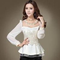 2014 Spring and summer new fashion women Luxury elegant slim chiffon shirt top female lace basic shirt women's blouse