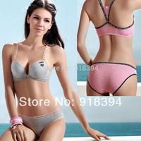 2014 High Quality Women Bra Set With Bamboo Fiber Seamless One-Piece Push Up Y-line Straps 100% Cotton Sport Yoga Underwear Set