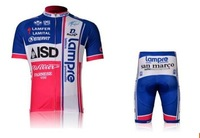 Set short-sleeved cycling team Lampre edition Cross Blue Wave cycling clothes men short summer suit