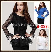2014 spring women's new fashion vintage cutout long-sleeve lace chiffon blouse o-neck slim basic tops for women female blouses