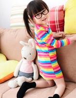 Free shipping Kids Girls Rainbow girl print dress brand children's clothing spring new princess dress for girls baby clothting