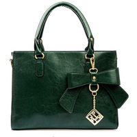 New arrival fashion women leather handbags women's messenger bags bowknot green bag women's shoulder bag free shipping sg168