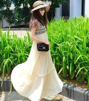 Free shipping 2014 summer  White chiffon maxiskirt Women's Fashion dress