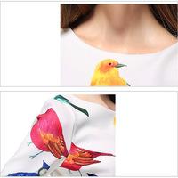 European Grand Prix 2014 spring and summer women's new temperament birdie brand zipper Sleeve Dress JR8506