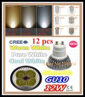 Free shipping 12 pcs Dimmable CREE 12W 9W GU10 E14 E27 MR16 B22 GU5.3 Led spotlight downlight bulb lamp led light led lighting
