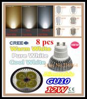 Free shipping 8 pcs Dimmable CREE 12W 9W GU10 E14 E27 MR16 B22 GU5.3 Led spotlight downlight bulb lamp led light led lighting
