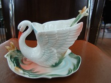 3Pcs White Swan Franz Porcelain Coffee set/ Cup saucer and Spoon