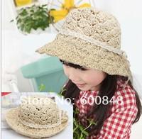 2014 NEW girls summer beach hats straw  sunhats ,BC201, 1-4ages