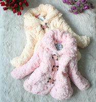 Free Shipping Girls Fur Coat Children Fashion Flower Outerwear Jackets coats plush floral arrangements coats