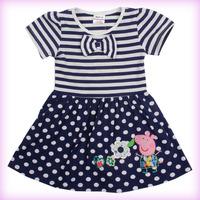 New Arrive Navy striped short sleeve cotton 2014 summer girl dress