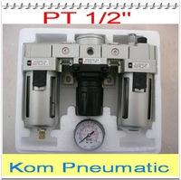 "1/2""Air Filter Regulator Combination AC4000-04 F.R.L Three Union Air Source Treatment AF4000 + AR4000 + AL4000"