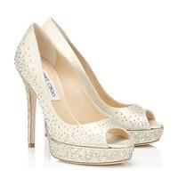 Free shipping spring JC Luxury diamond peep toe waterproof utral high heeled wedding shoes women geniune leather shoes