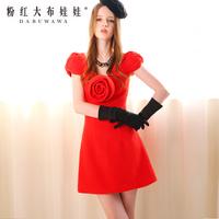 2014 spring one-piece dress red stereo flower slim woolen one-piece dress
