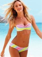 New Arrive Cheap Bikini Bandeau Colored Swimsuits Push Up Bathing Suit Ladies Colorful Swimwear