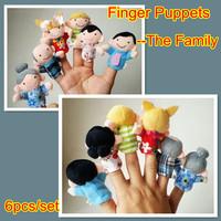 12set/Lot Plush Finger Puppet Family Set Of 6piece,Plush Cartoon,Hand puppets For Kids Educational Story Teller/Talking Props