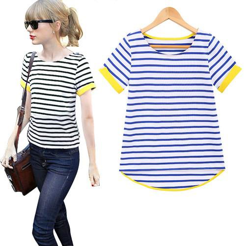 Novo 2014 moda feminina verão Tops Cotton Ladies Hit cor o pescoço listrado manga curta camisetas OL Street Style blusas camisa(China (Mainland))