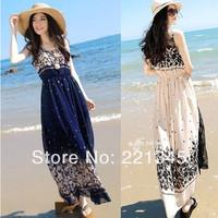 2014 summer chiffon one-piece dress women's loose tank dress bohemia beach full dress