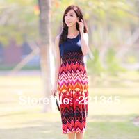 2014 summer women's sleeveless full dress bohemia stripe  chiffon vest one-piece dress beach