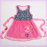 2015 New Arrive Peppa Pig Clothing Sleeveless Cotton Girl Dress Summer dresses for girls