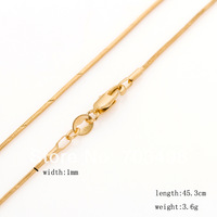 """Ultra-thin cut snake box gold chain for men women 18"""" 1mm 3.6 grams 18K yellow gold plated chokers necklace for girls cheap lot"""