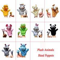 1set=20pcs G1 Plush Cartoon Stuffed Dolls Plush 10kinds Animals Hand Puppets+Finger Puppets Kids/Baby Plush Toys Talking Props