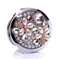 10 Pcs/Lot Rhinestone Pearl Gem Flower Make Up Mirror Stainless Steel Frame Double Sided Enlarge Mini Compact Mirror Wholesale