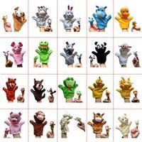G1&G2 Retail 40pcs/set Plush Cartoon Dolls Plush New 20kinds Animals Hand Puppets+Finger Puppets Kids/Baby Toys Talking Props