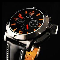 Hot Sale! cool Vogue V6 wristwatches, Strips Hour Marks Black Hours quartz Analog Men's military sport Watches