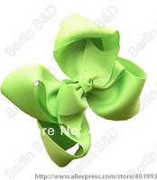 "Free shipping 60pcs/lot Mixed 18colors Hair Bow - 4"" Medium Double Layer Girl Bow Boutique Bow - Green Bow for toddlers"