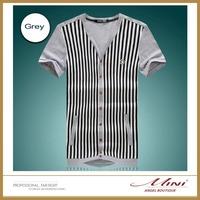 Free Shipping Men T-shirt Before Button design Fashion Korea Style Soft Men Clothing Cotton Big Size 5XL