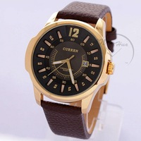 Fashion Watches CURREN 6525 Quartz Watch hour dial clock Genuine Leather Band Casual watches steel Case men Sports Watches 2014